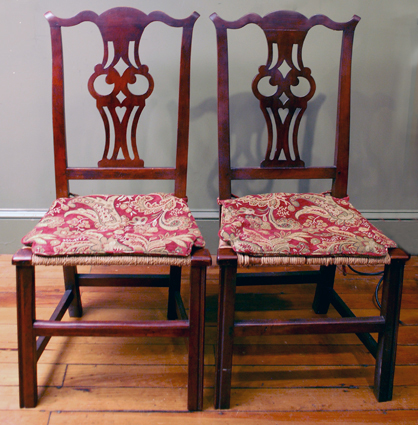 Pair chippedale sidechairs